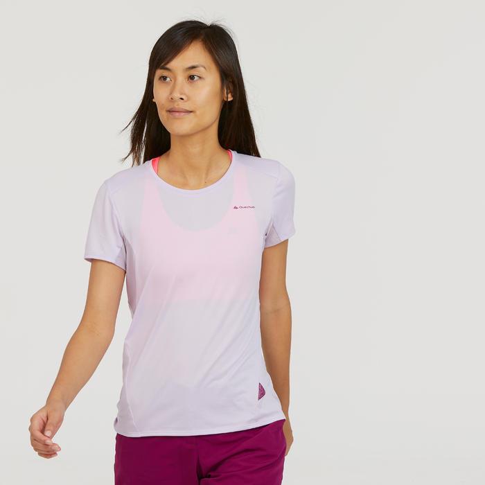 Dames T-shirt met korte mouwen voor bergwandelen MH100 zachtpaars