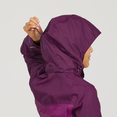 Women's MH100 waterproof mountain hiking marl jacket - Plum