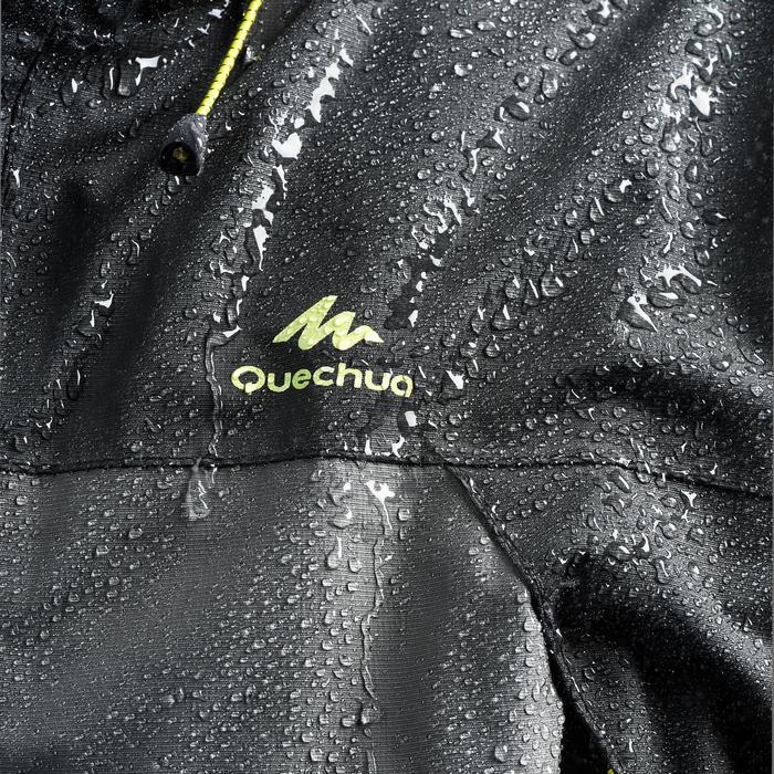 男款登山健行防雨外套MH100-黑灰配色