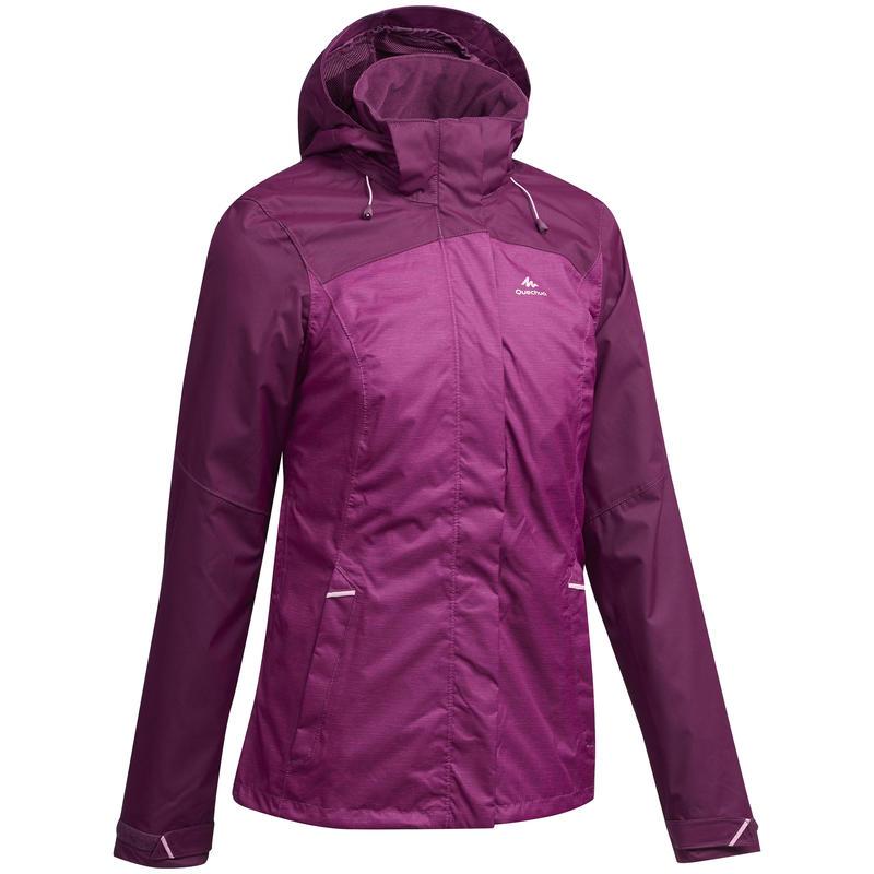 MH100 Women's Mountain Hiking Waterproof Jacket - Mottled Plum