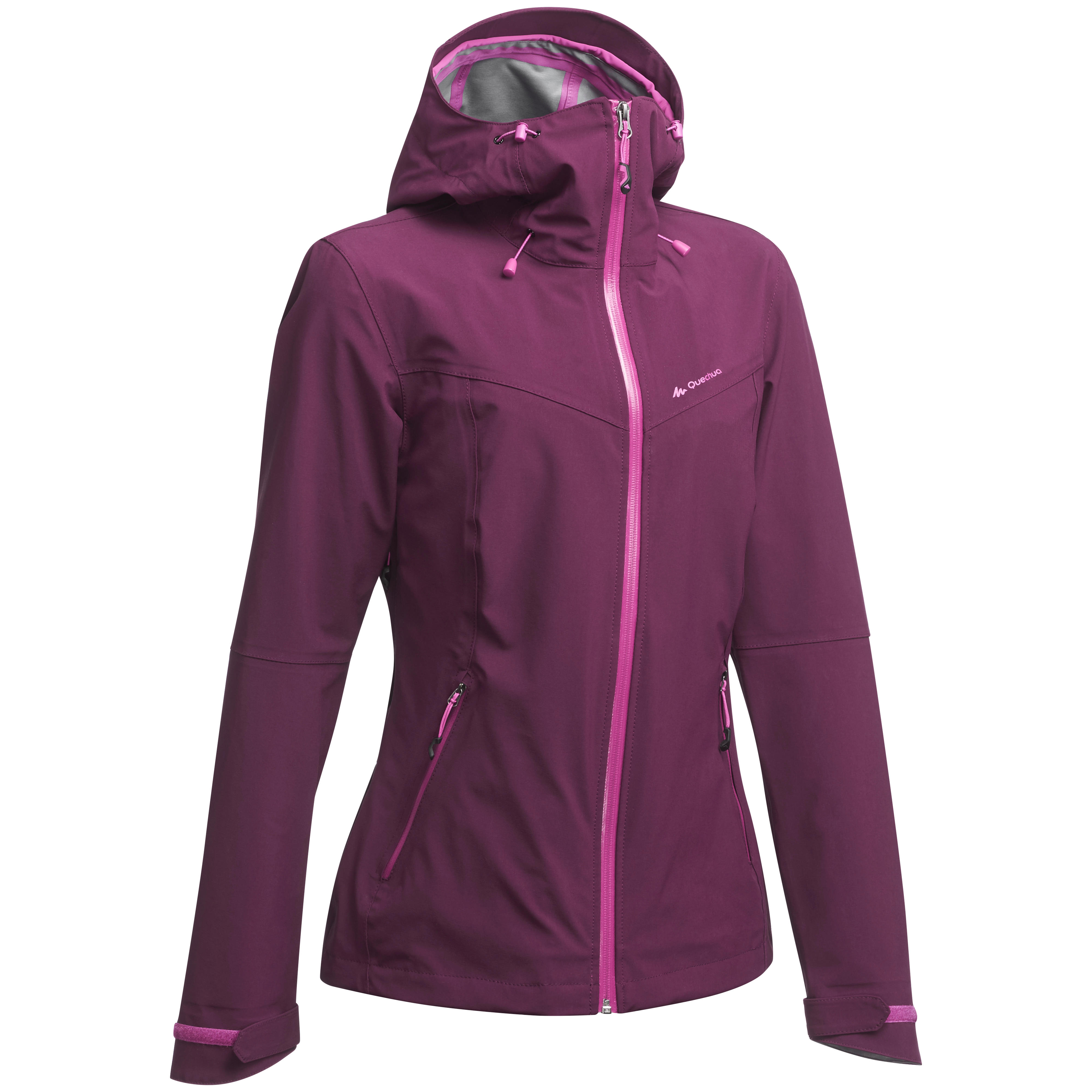 Women's Waterproof Mountain Hiking Rain Jacket – Plum