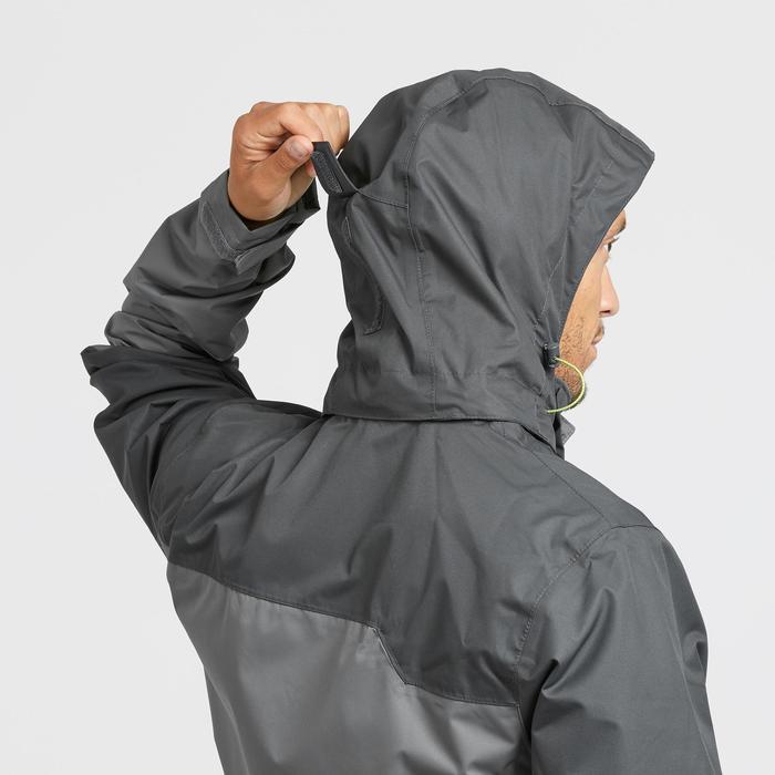 Chaqueta lluvia Senderismo en la montaña MH100 impermeable hombre Gris Negro
