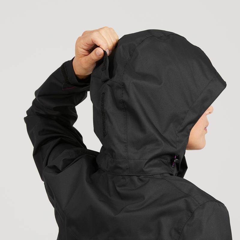 Chaqueta impermeable de senderismo en montaña MH100 mujer negro