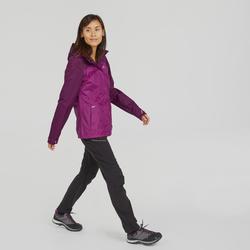 Veste imperméable de randonnée montagne femme MH100 Prune chiné