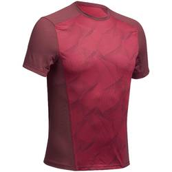 MH500 Men's Short-Sleeved Mountain Hiking T-shirt - burgundy print