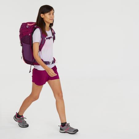 Camiseta de manga corta de senderismo en montaña. Mujer MH100 Malva