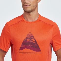 Tee Shirt de randonnée montagne MH500 manches courtes homme orange print