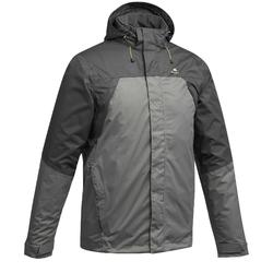 MH100 Men's Waterproof Mountain Hiking Rain Jacket - Grey Black