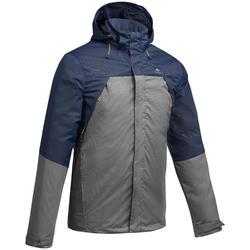 MH100 Men's Mountain Hiking Waterproof Rain Jacket - Blue Khaki