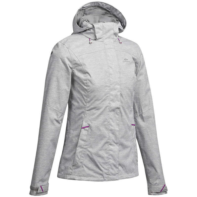 WOMEN MOUNTAIN HIKING JACKETS Hiking - MH100 Women's Waterproof Jacket - Heather/Pink QUECHUA - Hiking Clothes