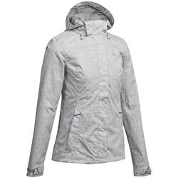 MH100 Women's Mountain Hiking Waterproof Jacket - Mottled Grey