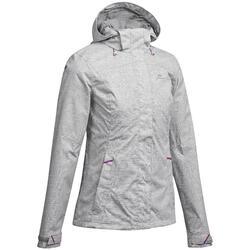 Veste de pluie imperméable pour la randonnée en montagne MH100 Femme Gris Chiné