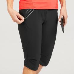 Wanderhose Dreiviertelhose Bergwandern MH500 Damen schwarz