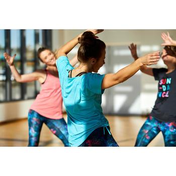 Tee-shirt danse fitness femme réglable turquoise