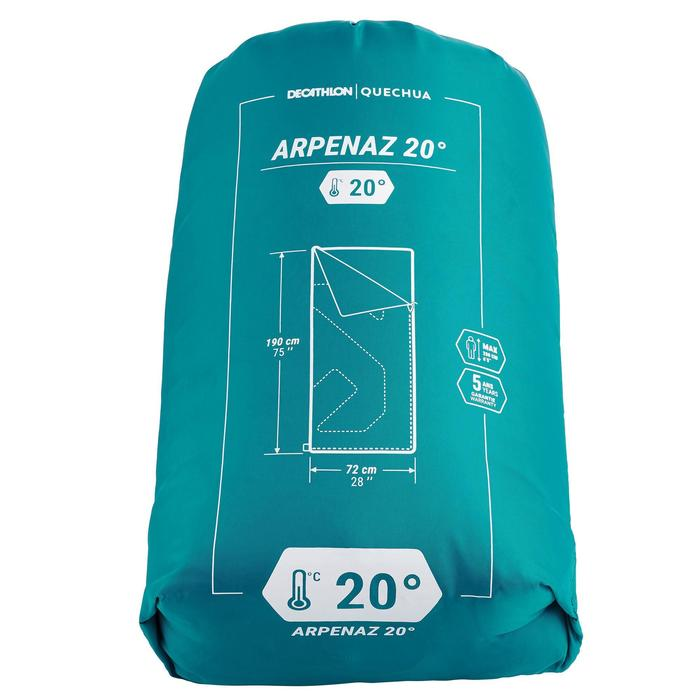 Schlafsack Camping Arpenaz 20°C grün