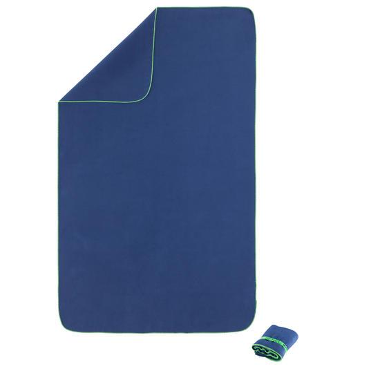 Zeer compacte microvezel handdoek cinablauw maat L 80 x 130 cm - 156958