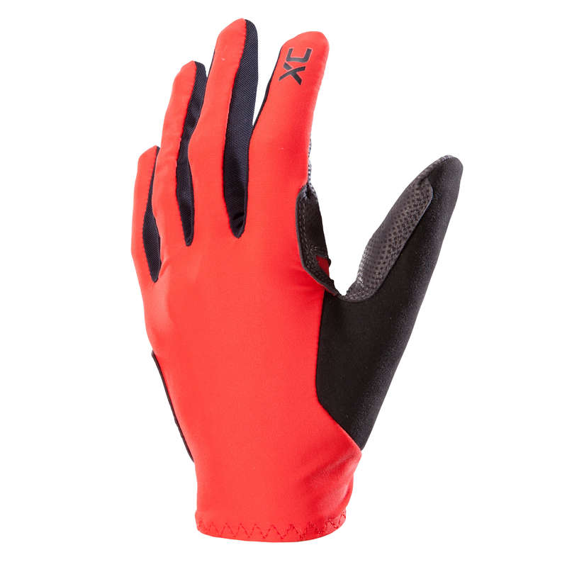 ADULT WARM WEATHER CROSS C. MTB GLOVES Cycling - XC MTB Gloves Light - Red ROCKRIDER - Clothing