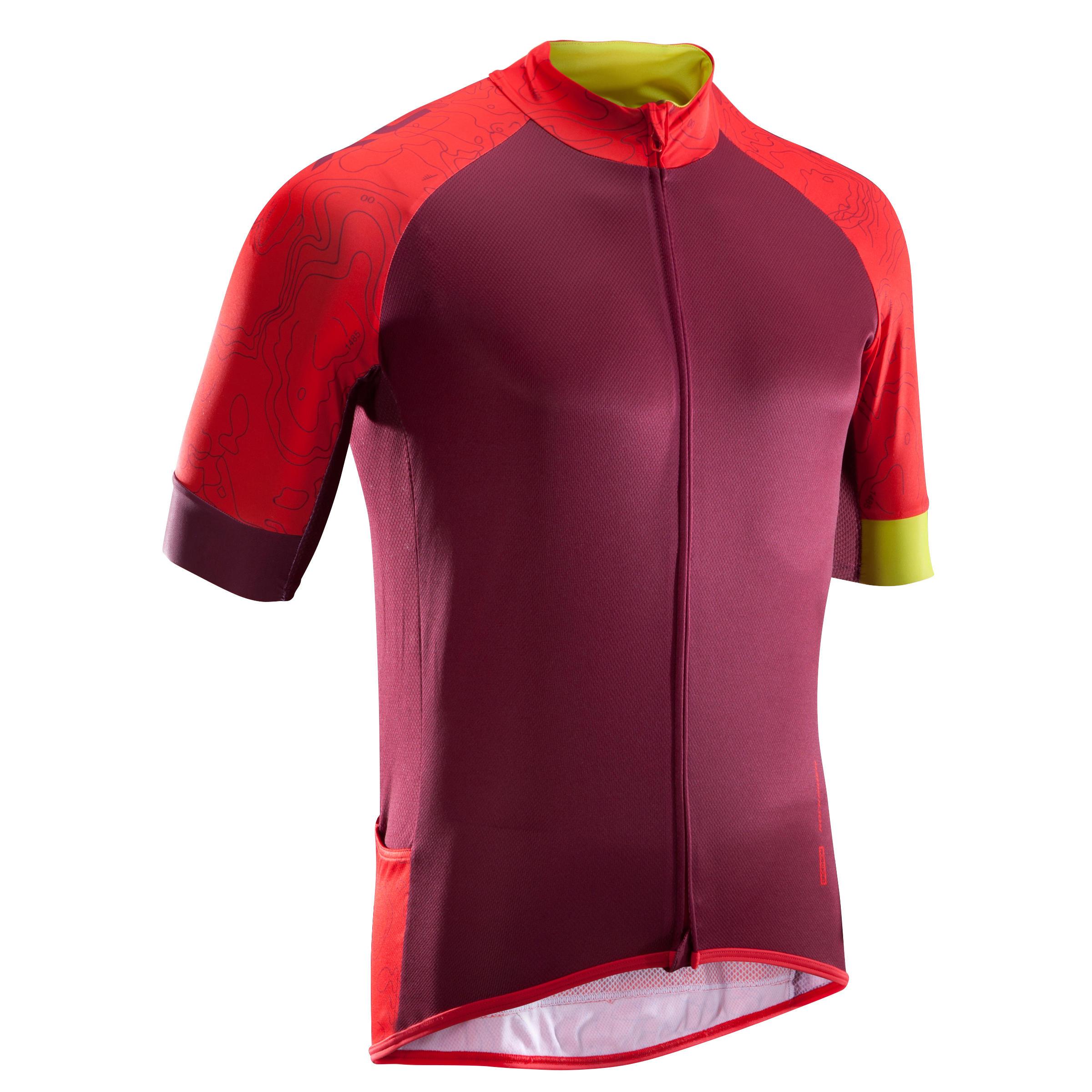 Fahrradtrikot XC 100 kurzarm MTB weinrot | Sportbekleidung > Trikots > Fahrradtrikots | Rot - Gelb | Baumwolle | Rockrider