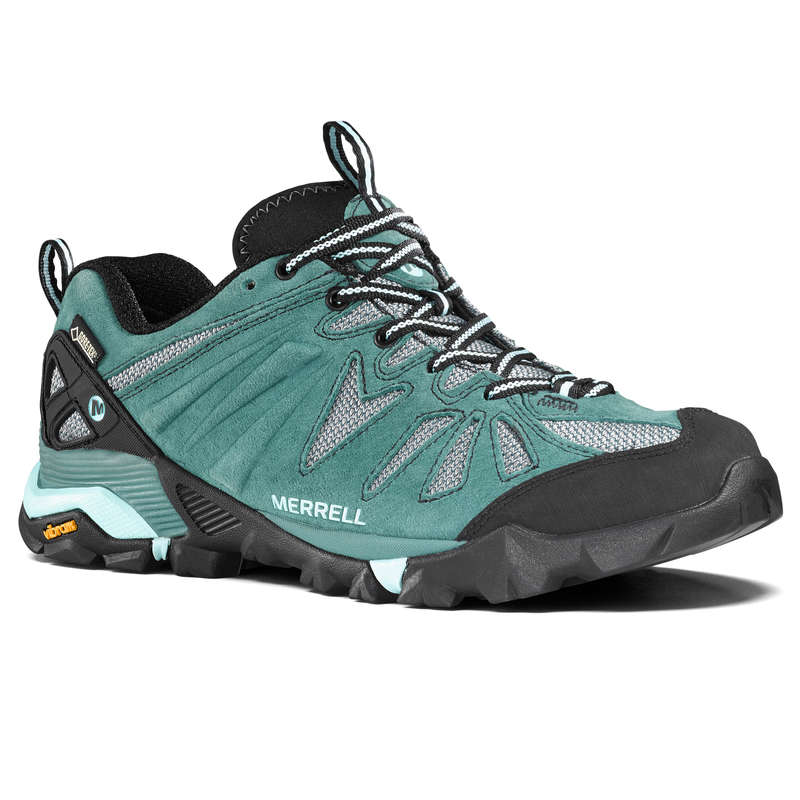 WOMEN MOUNTAIN HIKING SHOES Hiking - Capra Gore-Tex Womens Waterproof Walking Shoes - Green MERRELL - Outdoor Shoes