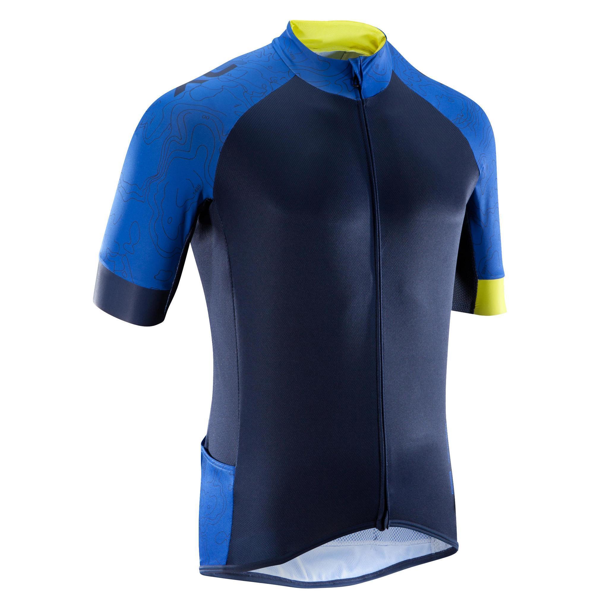 Fahrradtrikot kurzarm 100 XC blau   Sportbekleidung > Trikots > Fahrradtrikots   Blau - Gelb   Baumwolle   Rockrider