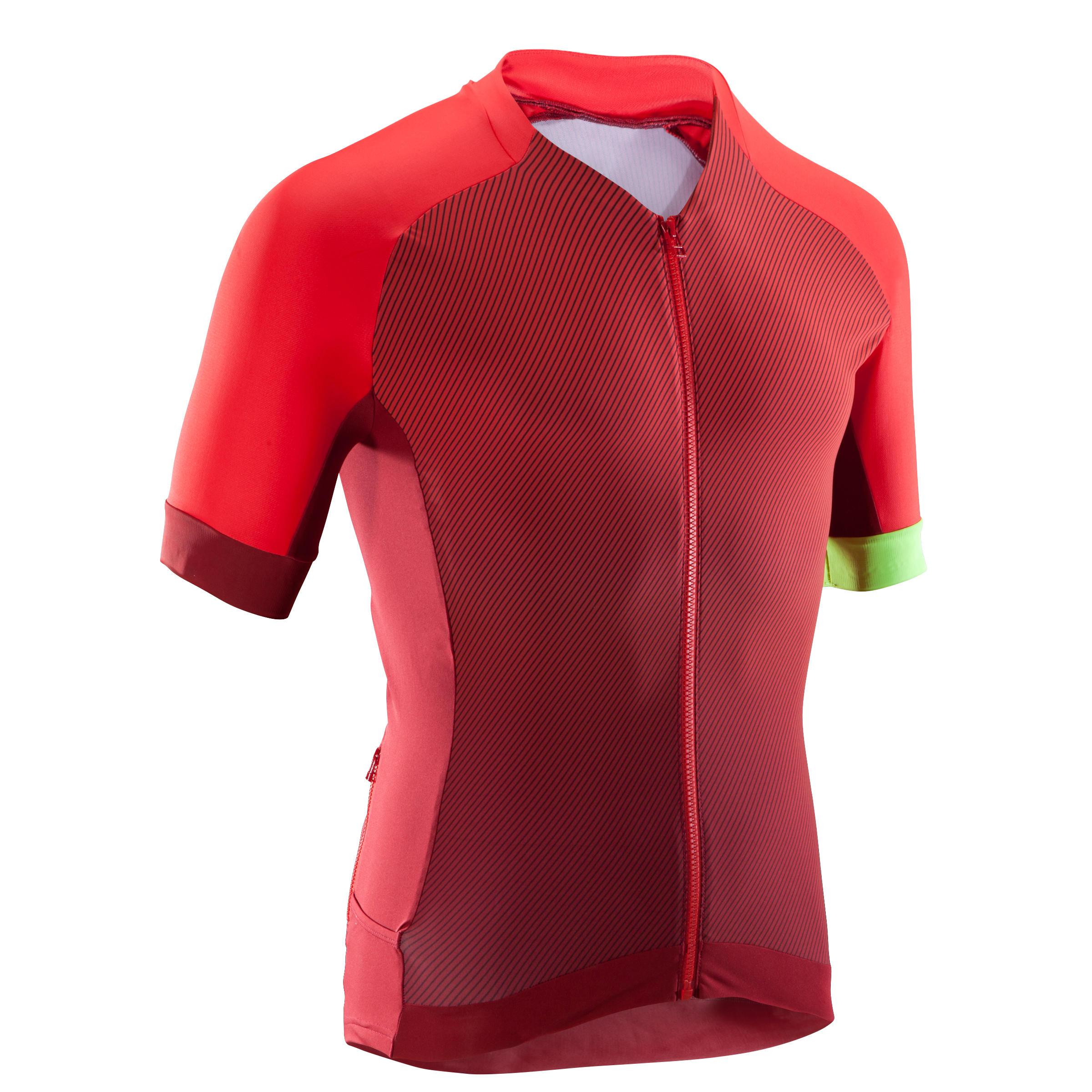 Fahrradtrikot MTB XC Light Herren rot | Sportbekleidung > Trikots > Fahrradtrikots | Rot - Gelb | Rockrider