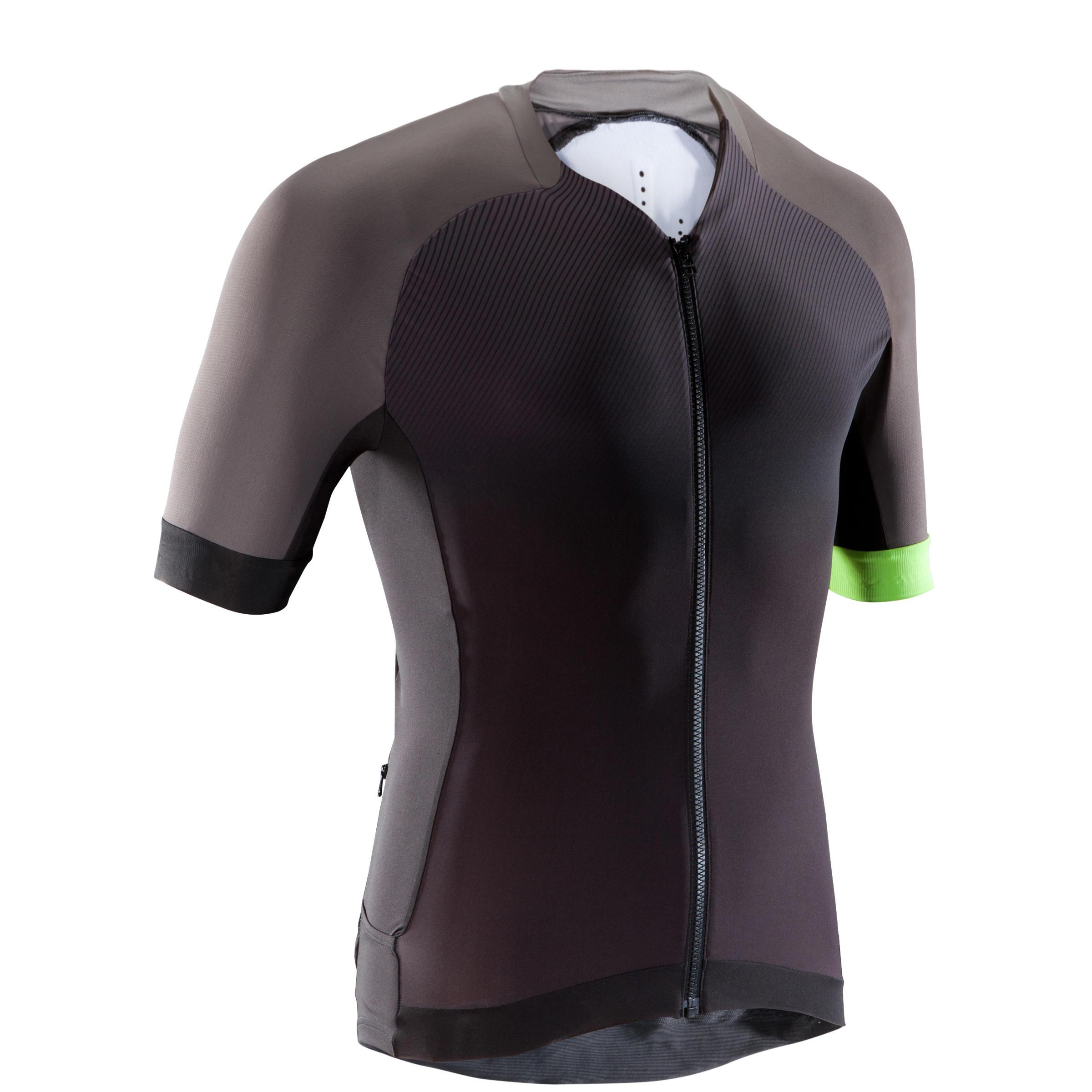 Fahrradtrikot kurzarm MTB XC Light Herren schwarz/grau | Sportbekleidung > Trikots > Fahrradtrikots | Schwarz - Grau - Gelb | Trikot | Rockrider