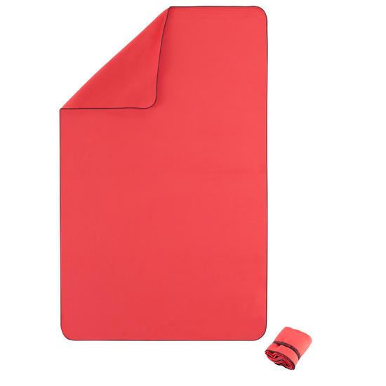 Zeer compacte microvezel handdoek cinablauw maat L 80 x 130 cm - 156982