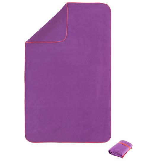 Zeer compacte microvezel handdoek cinablauw maat L 80 x 130 cm - 156988