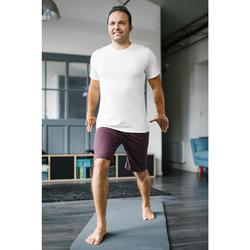 T-Shirt 500 Regular Pilates sanfte Gym Herren greige