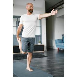 T-shirt 500 V-hals slim fit pilates en lichte gym greige