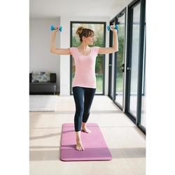 Dames T-shirt voor pilates en lichte gym 500 slim fit roze