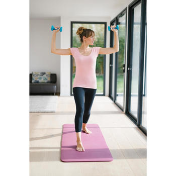 T-shirt 500 slim fit pilates en lichte gym dames gemêleerd lichtroze