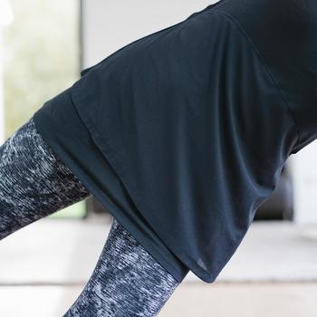 女款皮拉提斯與溫和健身T恤530 - 黑色