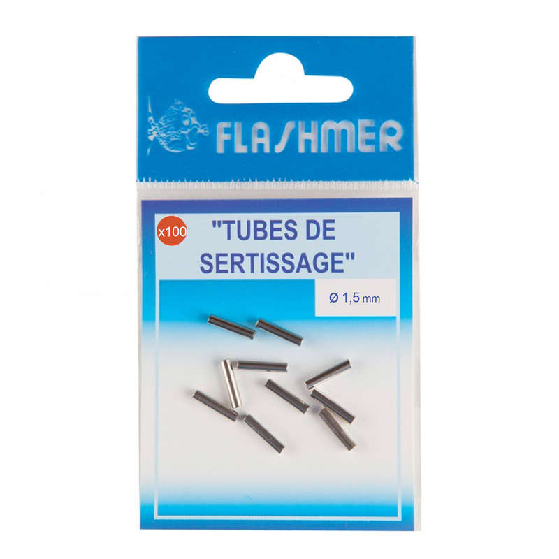 SW RIGGED HOOKS, WIRE TRACES - SLEEVES X100 1.5MM FLASHMER