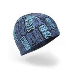 Swim Cap Mesh Large - Printed Blue Tiki