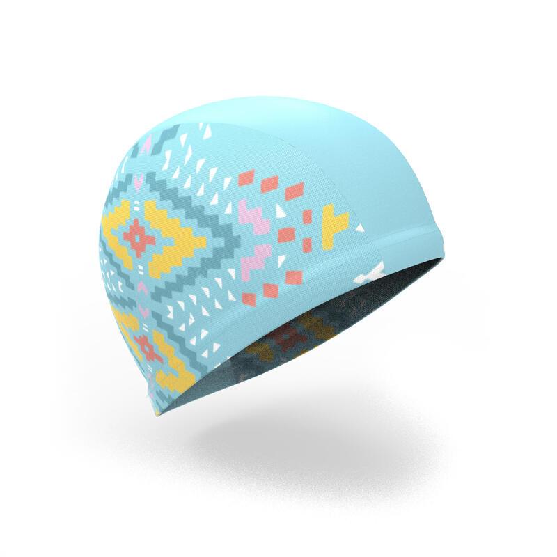 Mesh Print Swim Cap Size S Ethnic Blue