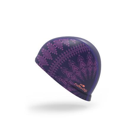 500 SILICONE MESH PRINT SWIM CAP SIZE L Purple