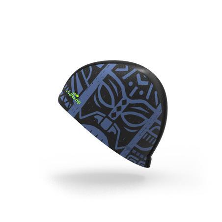 Mesh Print Swimming Cap, Size L - Tiki Black