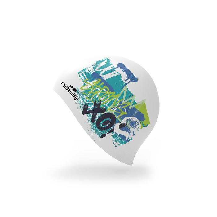 Siliconen badmuts 500 met print Tag groen