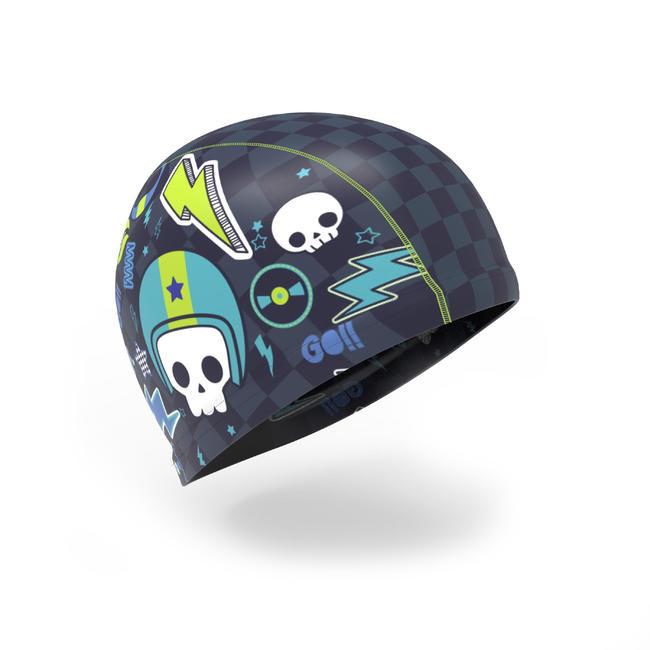 Swim Cap Silicone mesh- Printed Mobo Navy Blue