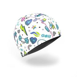 矽膠網眼印花泳帽500,S號 - 童趣塗鴉/白色
