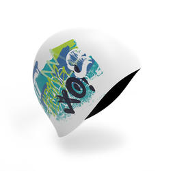 Swim Cap Silicone - Printed White blue Green