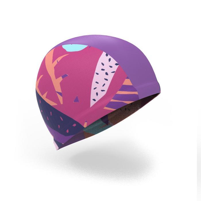 Badmuts textiel met print maat S Veg roze