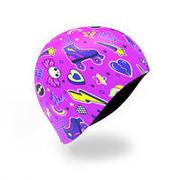 swim cap silicone - skate print pink