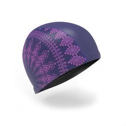 Badekappe Stoff mit Silikon beschichtet 500 Print Ethnic Größe L violett