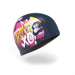 矽膠網眼印花泳帽500,L號 - TAG藍色