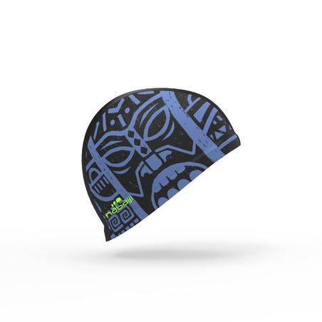 Bonnet de bain maille print taille L Tiki noir