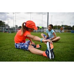 兒童田徑鞋帶運動鞋RUN SUPPORT藍色珊瑚紅