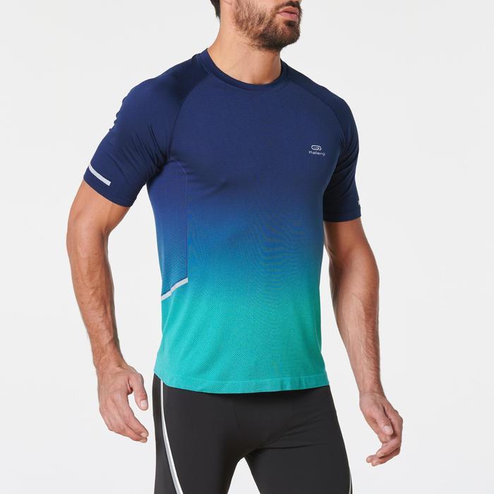 Camiseta Manga Corta Running Kalenji Kiprun Care Hombre Azul y verde