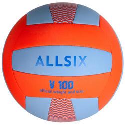Ballon de volley-ball V100 d'initiation bleu et orange